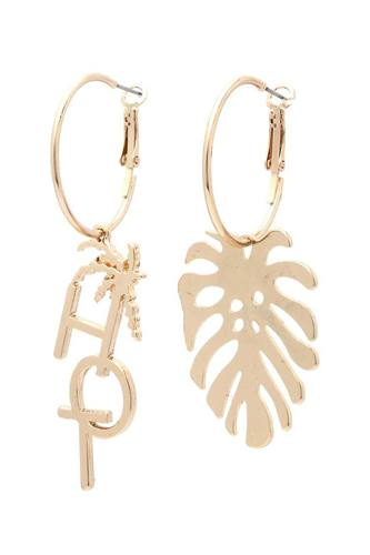 Hot tropical leaf drop earring-id.cc40418