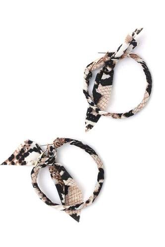 Animal print pattern bow hoop earring-id.cc40421