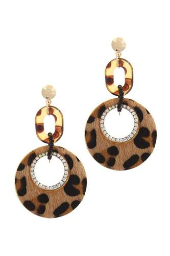 Cut out circle fur post drop earring-id.cc40431