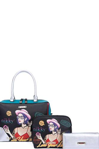 Nikky by nicole lee 3in1 love your look print satchel cross body and wallet set-id.cc40437