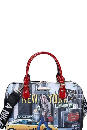 Nicole lee new york walk print boston bag with long strap-id.cc40439