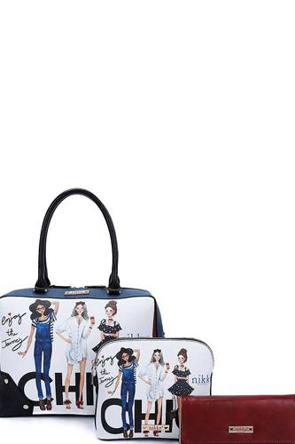 Nikky by nicole lee 3in1 chic girls print satchel crossbody and wallet set-id.cc40441