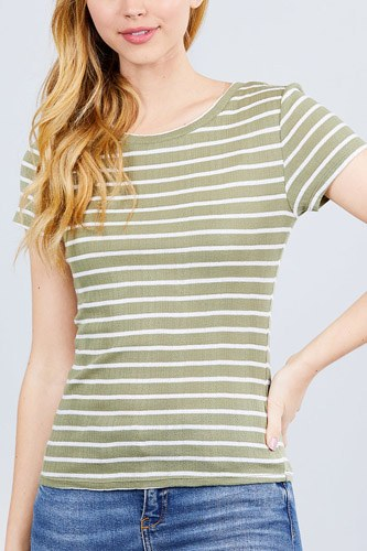 Short sleeve crew neck stripe pointelle knit top-id.cc40455