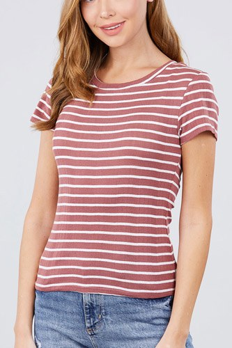 Short sleeve crew neck stripe pointelle knit top-id.cc40455a