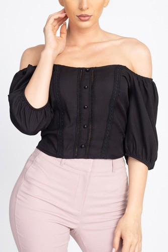 Lace trim off shoulder crop top-id.cc40457