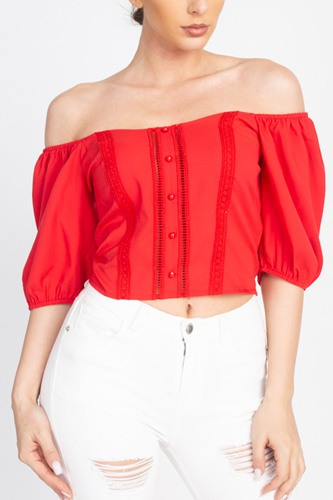 Lace trim off shoulder crop top-id.cc40457a