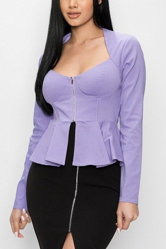 Long sleeve ruffle zip-up jacket-id.cc40464a