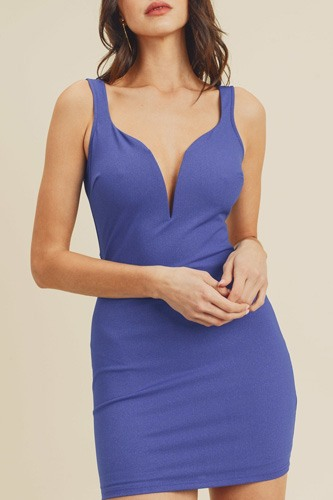 Open back plunging v-neck bodycon dress-id.cc40466