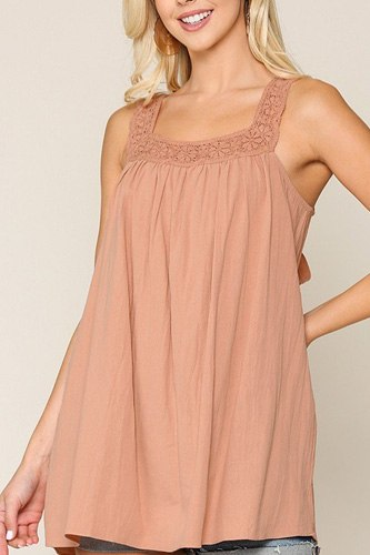 Square neck crochet trim sleeveless top-id.cc40468