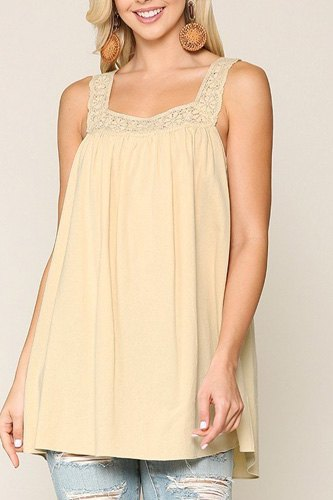 Square neck crochet trim sleeveless top-id.cc40468a