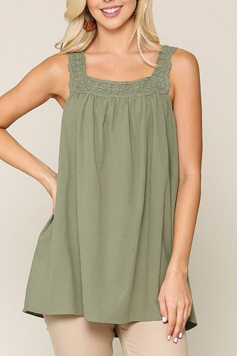 Square neck crochet trim sleeveless top-id.cc40468c