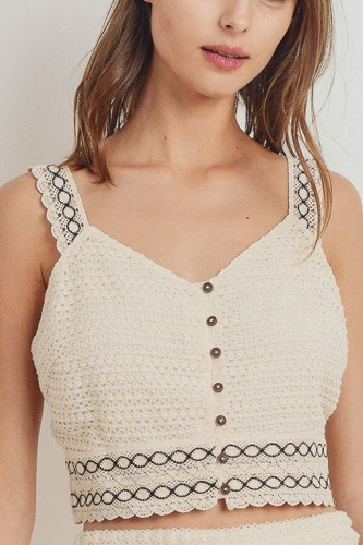 Knit laced buttoned shoulder strap top-id.cc40472