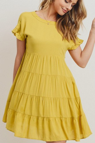 Round neck can can ruffled dress-id.cc40473
