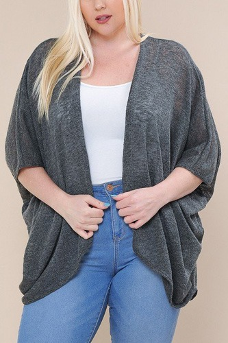 Open front cardigan back v-neck kimono sleeves-id.cc40477d