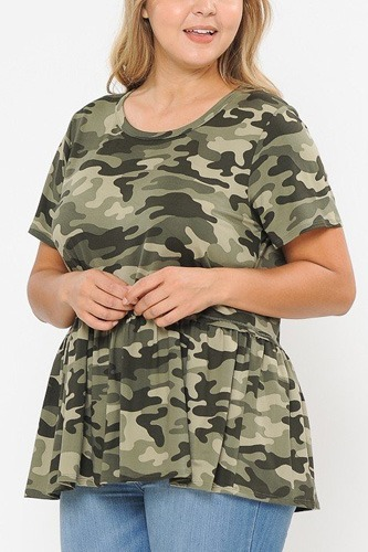Camo print with babydoll short sleeve top-id.cc40479a