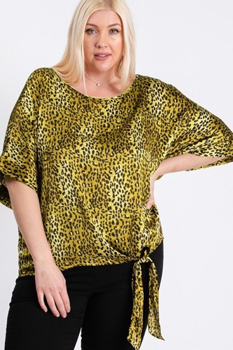Short sleeve side knot hemline leopard print woven top-id.cc40481b