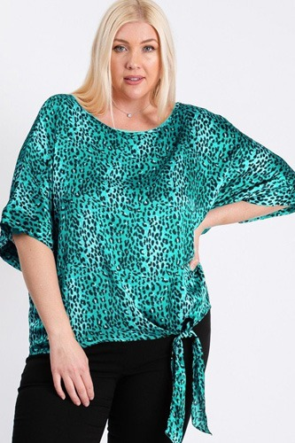 Short sleeve side knot hemline leopard print woven top-id.cc40481c