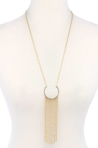 Open circle chain multi strand pendant necklace-id.cc40482