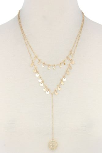 Coin dangle y shape necklace-id.cc40484