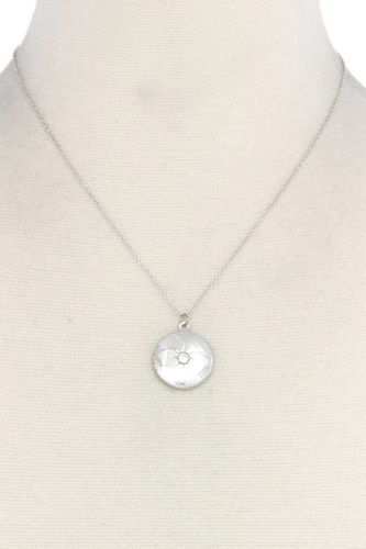 Cubic zirconia metal circle locket metal necklace-id.cc40485