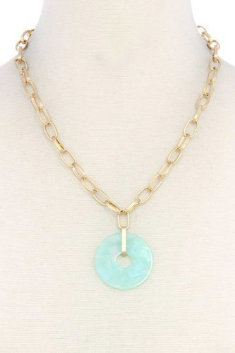 Acetate circle pendant necklace-id.cc40499