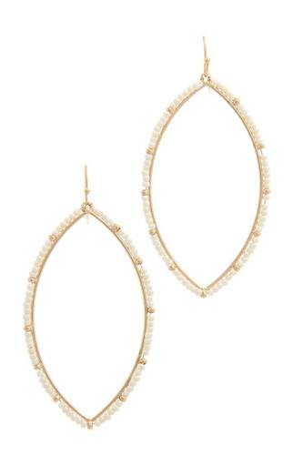 Two tone beaded pointed oval drop earring-id.cc40500