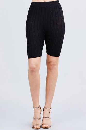 Twisted effect bermuda length sweater shorts-id.cc40525