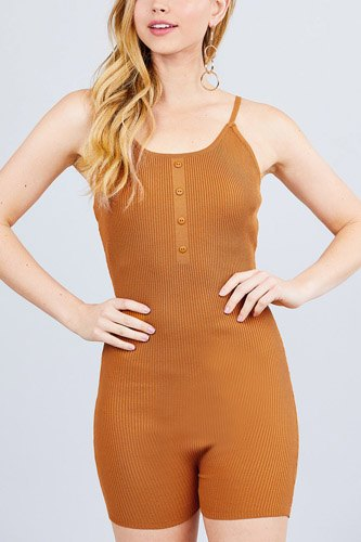 Round neck button detailed cami sweater romper-id.cc40526