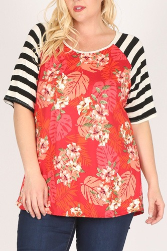 Plus size striped sleeves flower print contrast tunic top-id.cc40527