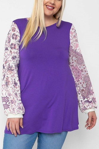 Floral print, contrasting bubble sleeves tunic with a round neckline.-id.cc40533