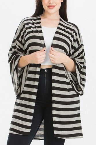Striped, cardigan with kimono style sleeves-id.cc40536