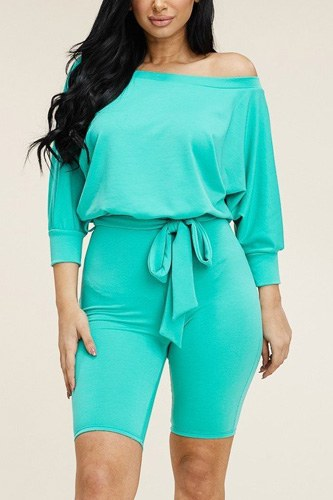 Slouchy solid french terry 3/4 sleeve romper with tie waist-id.cc40537