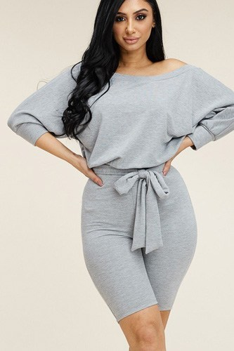 Slouchy solid french terry 3/4 sleeve romper with tie waist-id.cc40537b