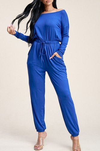 Solid rayon spandex slouchy jumpsuit with pockets-id.cc40541a