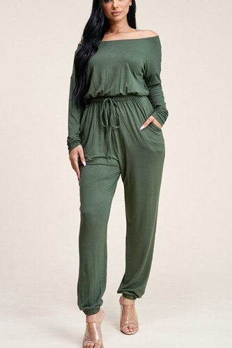 Solid rayon spandex slouchy jumpsuit with pockets-id.cc40541b