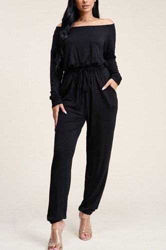 Solid rayon spandex slouchy jumpsuit with pockets-id.cc40541c