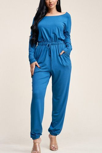 Solid rayon spandex slouchy jumpsuit with pockets-id.cc40541d