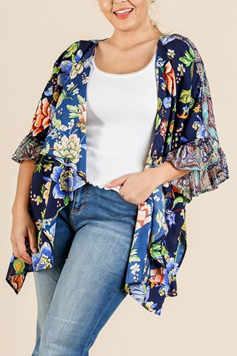 Floral mixed print ruffle bell sleeve open front kimono with side slits-id.cc40547a