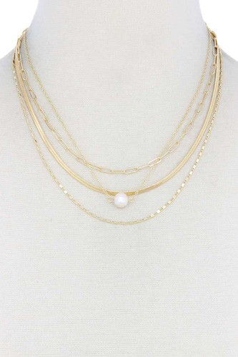 Pearl bead snake chain layered necklace-id.cc40552