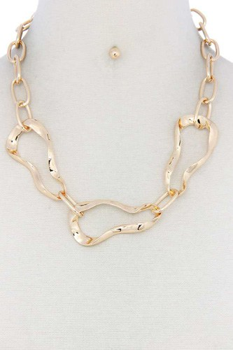 Bent oval shape necklace-id.cc40555
