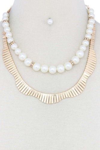 Pearl metal layered necklace-id.cc40556