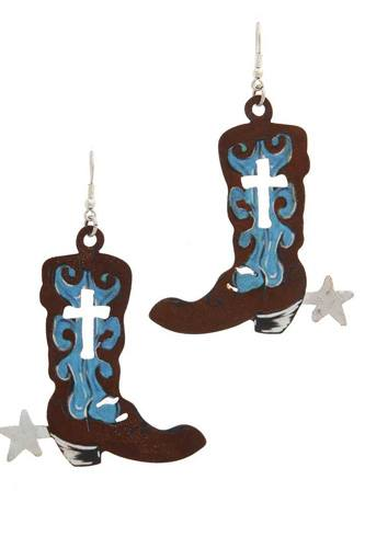 Cut out cross boot drop earring-id.cc40561