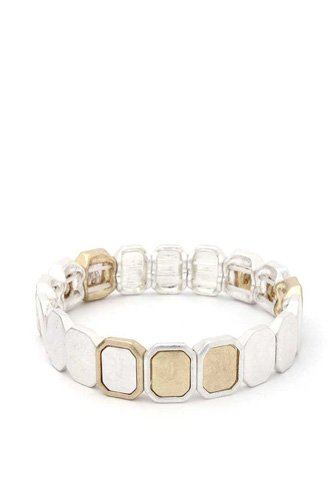 Two tone octagon stretch bracelet-id.cc40563