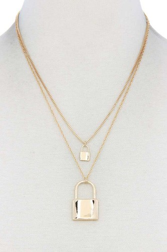 Sodajo lock charm layered necklace-id.cc40567