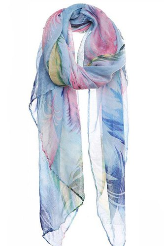 Chic soft multi color feather print scarf-id.cc50573