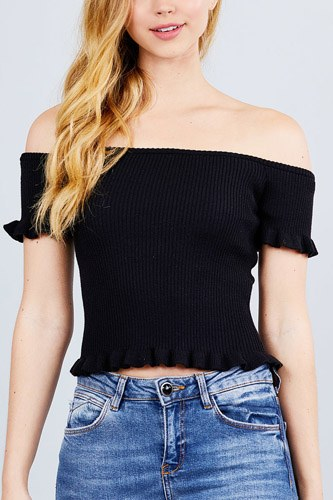 Short sleeve off the shoulder w/ruffle detail sweater top-id.cc50596