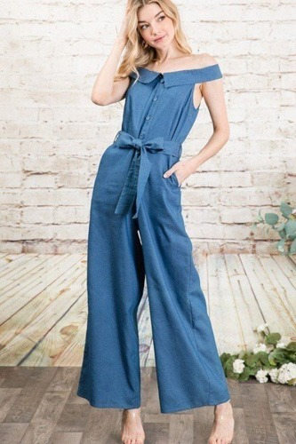 Fold-over collar detailed button down off-shoulder chambray denim wide leg palazzo jumpsuit with waist tie-id.cc50607a