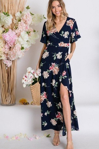Spring floral print short bell flyaway sleeve faux wrap maxi dress-id.cc50611a