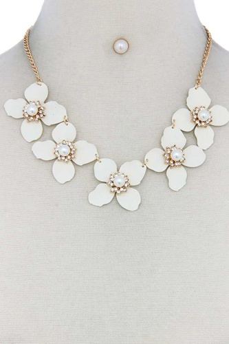 Flower linked bib necklace-id.cc50623