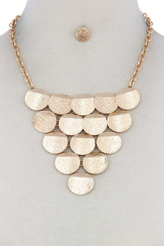Disc linked bib necklace-id.cc50624